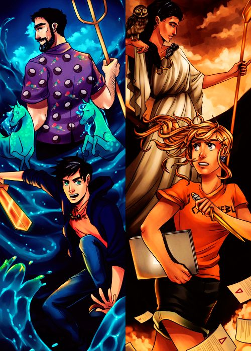 Poseidon/Percy and Athena/Annabeth <<< at first I thought Percy was surfing...