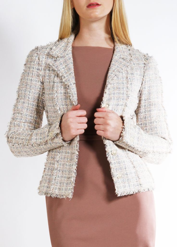 CHANEL JACKET @Michelle Flynn Coleman-Hers Length, shape and collar style for the Chanel jacket I'm knitting