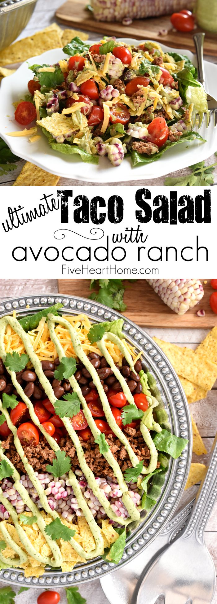 Ultimate Taco Salad ~ with Avocado Ranch Dressing | FiveHeartHome.com