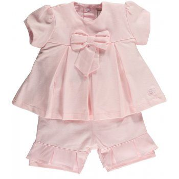"""Evelyn"" is a very pretty 2 piece set from Emile et Rose, in pink stretch jersey with lawn trims"