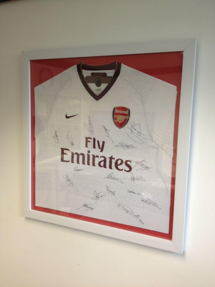 Arsenal football shirt framing