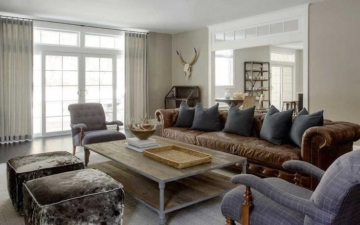 Modern Country Living Room Features A Long Brown