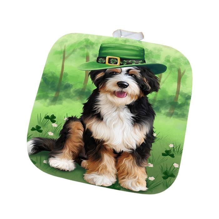 St Patricks Day Irish Portrait Bernedoodle Dog Pot Holder