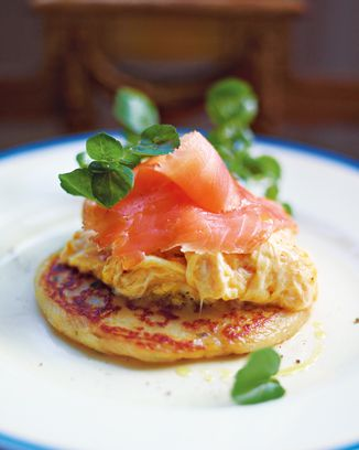 glasgow potato scones with best scrambled egg and smoked salmon... so many of my favorite things in one!