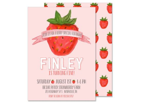 This listing is for the Strawberry Birthday Invitation. Delivery options include either a digital file delivered to your email within 24