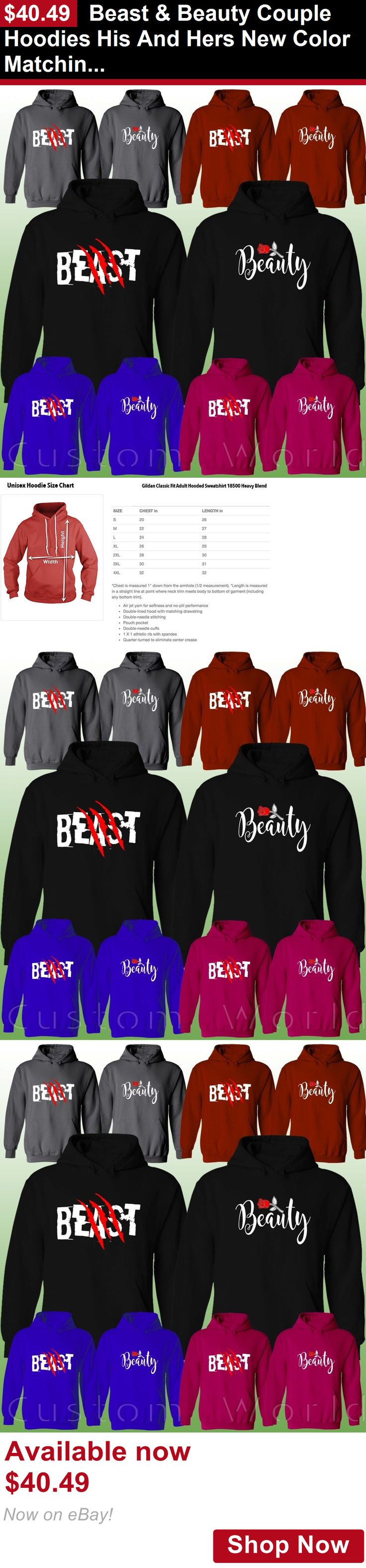 Unisex adult clothing: Beast And Beauty Couple Hoodies His And Hers New Color Matching Sweatshirts BUY IT NOW ONLY: $40.49