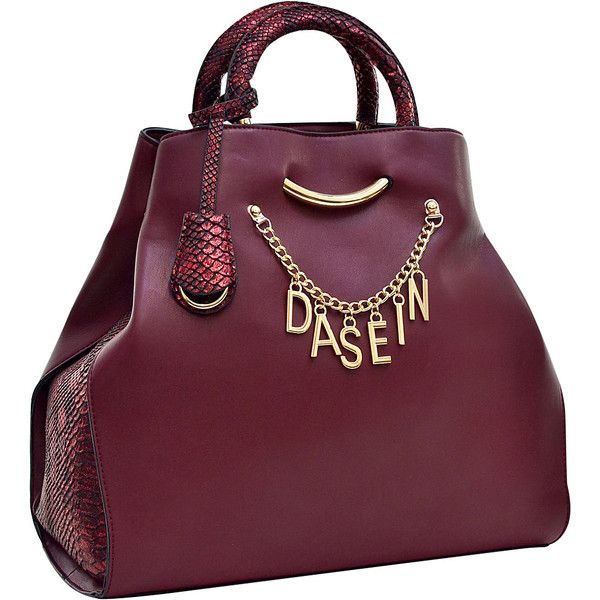 Dasein Charm Tote Bag with Embossed Trim - Wine - Totes ($39) ❤ liked on Polyvore featuring bags, handbags, tote bags, red, wine tote bag, red tote, wine purse, red purse and faux leather tote