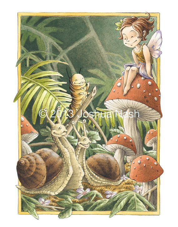 The Toadstool Fairy is native to the mossy forest floors of Northern California. She is friendly to snails, caterpillars and other squishy folk. Though sightings of the Toadstool Fairy are very rare, you'll know her by the tiny imprints left on her toadstool seat.  Toadstool Fairy 11 x 14 Open Edition Print by NashIllustrations, $45.00