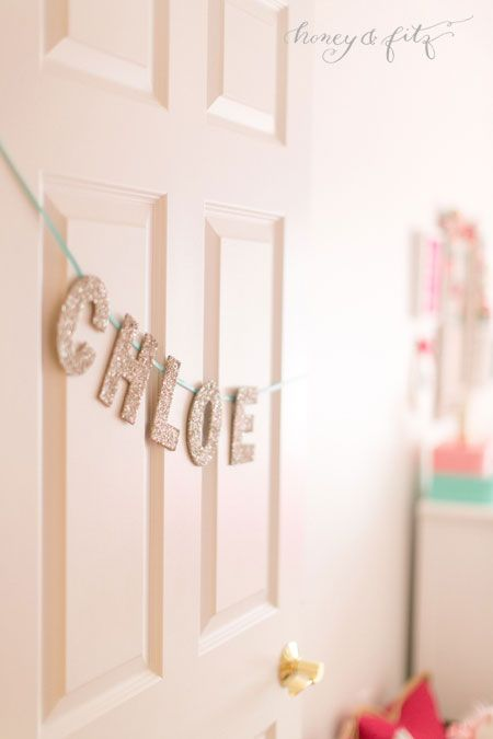 Glitter letter name garland - fun decor for the door to your little one's room!: The Doors, Paintings Doors, Mermaids Inspiration, S Names For Girls, A Names For Girls, Big Girls Rooms, Projects Nurseries, Mermaids Girls Bedrooms, Big Girl Rooms