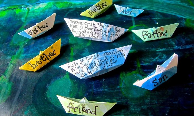 Tucked away in bus stops, on trains and at pedestrian crossings across UK cities and towns, Bern O'Donoghue's paper boat art project is challenging the use of derogatory language and misinformation about refugees, migrants and immigrants