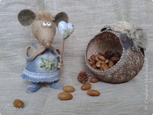 Игрушка Моделирование конструирование Мышь и немного кота  Клей Мешковина Пенопласт Шпагат фото 1