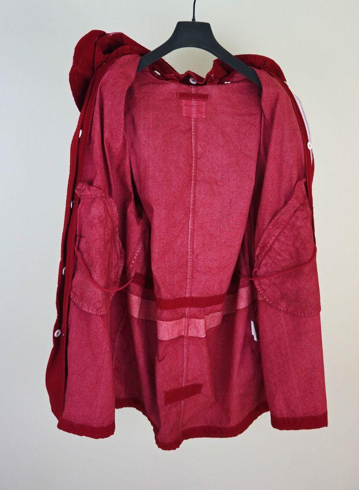 HELMUT LANG AW98 Men Oversize Bloody Red M-51 Hooded Parka Paint Stripe Sz 50 | eBay