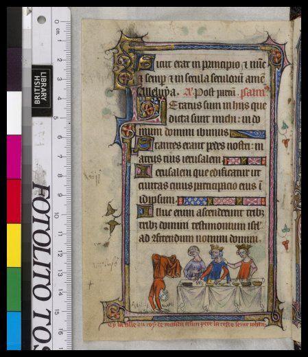 Salomen akrobaattista tanssia englantilaisessa käsikirjoituksessa, 1300-luku (BL Yates Thompson 13  f. 106v)