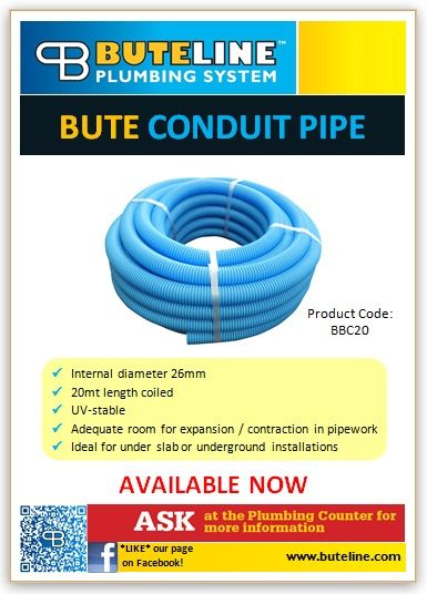 Bute Conduit Pipe is now available as blue 20mt coils. UV-stable, with an internal diameter of 26mm, there is adequate room for expansion/contraction in pipework. Bute Conduit Pipe is ideal for underslab or underground installations. Call 0800 BUTELINE for more info.