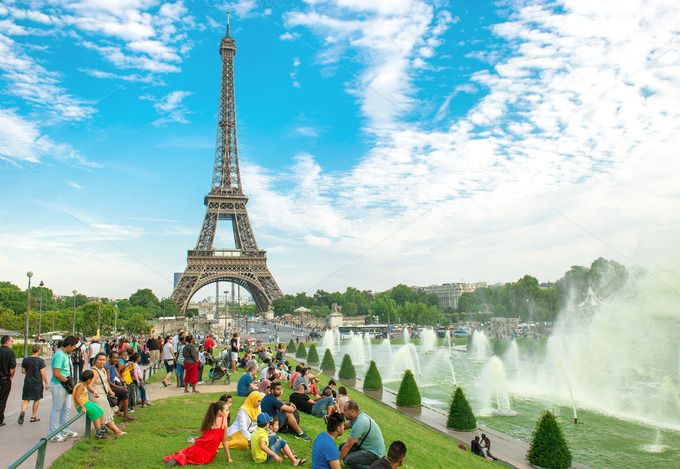Tourists near famous Eiffel Tower by LiliGraphie on Creative Market