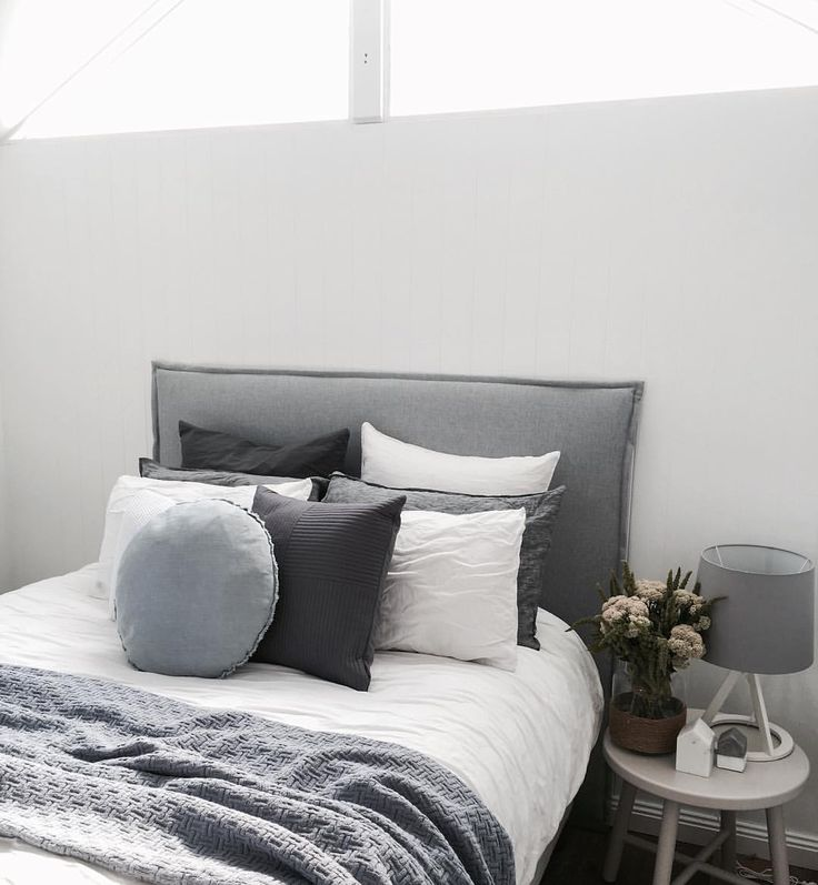 "T H E S T A B L E S on Instagram: ""Love this combination of dusty blues, grey and charcoal. Talk about calming #thestables #interiors #styling #design #decoration #interiordesign #interiorstyling #bedroom #bedroomstyle #bedhead #interiorsbycatherine"""