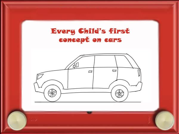 Every child has this beautiful concept of cars. National Etch a Sketch Day.