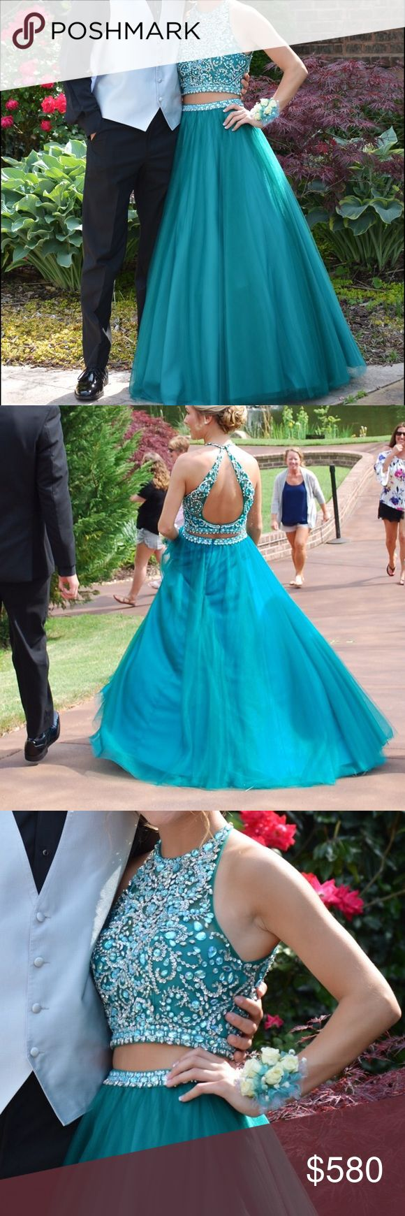 two piece mori lee prom dress only worn once!! the bottom was cut off to fit a 5'4-5'5-5'6 person. perfect condition!!! Mori Lee Dresses Prom