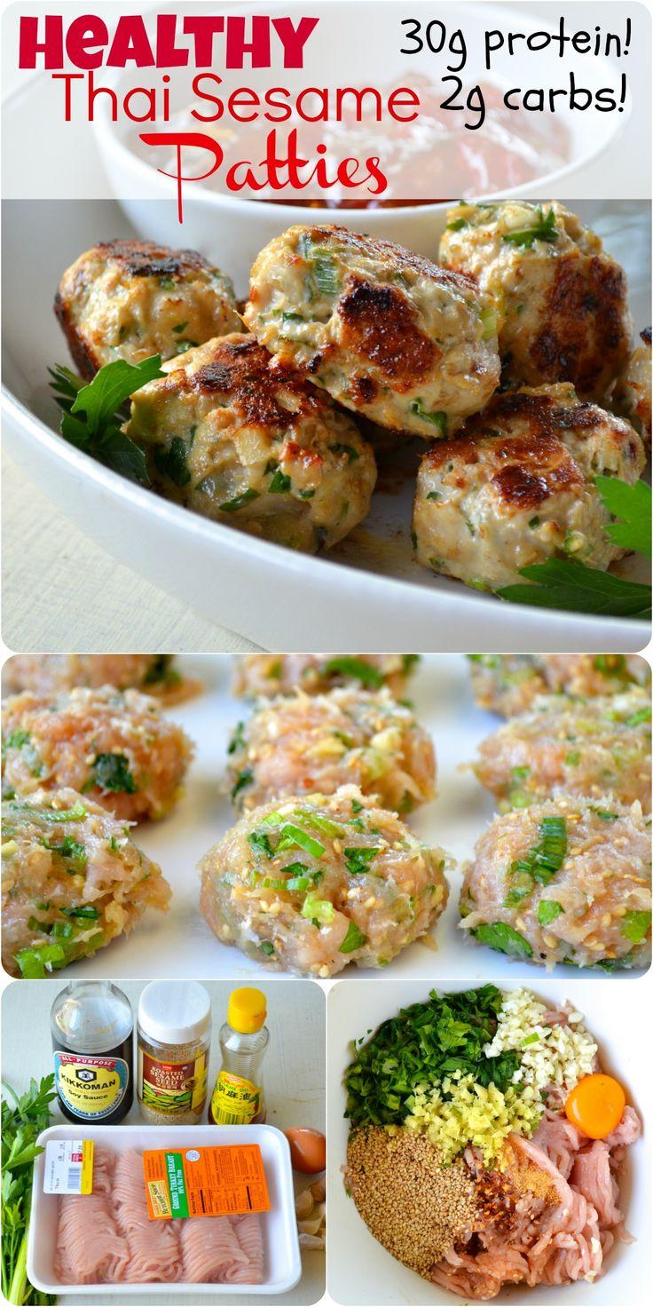 Tuesday: Thai pork patties, sesame noodles, broccoli. ~~~~~~~~~~~~~~ Healthy Thai Sesame Patties