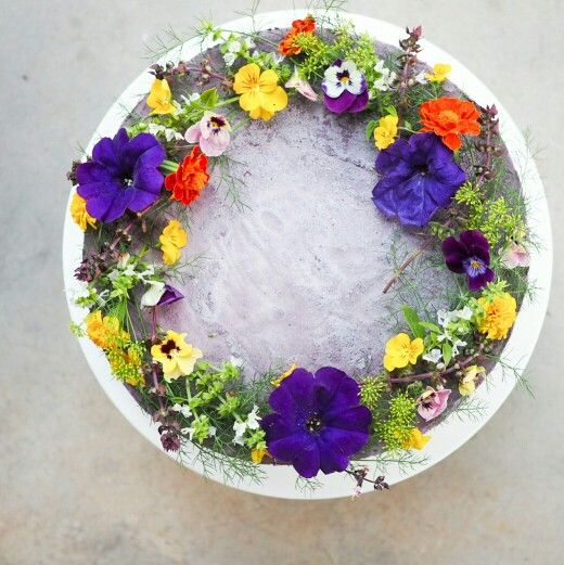 Blueberry and Lavender  Cake topped with edible flowers  #glutenfree #dairyfree #vegan #refinedsugarfree #yum #madewithlove