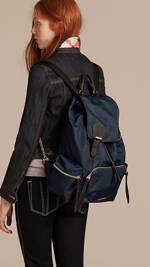 The Large Rucksack in Technical Nylon and Leather -  3