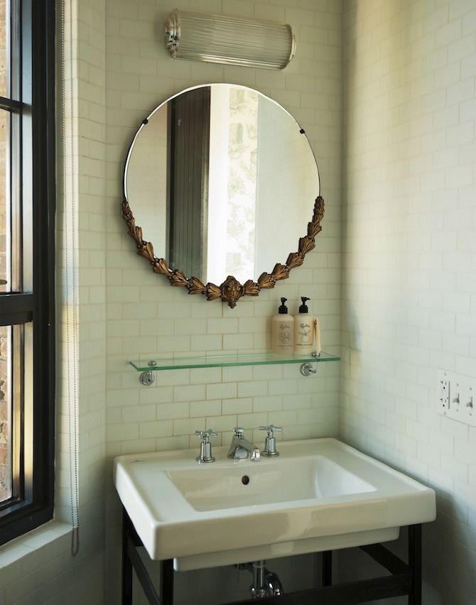 SIMPLE: Vintage Mirror, Interior, Round Mirror, Subway Tile, Bathroom Mirror, Wythehotel, Hotels