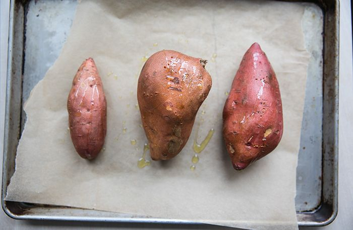baked sweet potatoes, high in fiber, delicious, great for vatta-pitta ayurvedic types