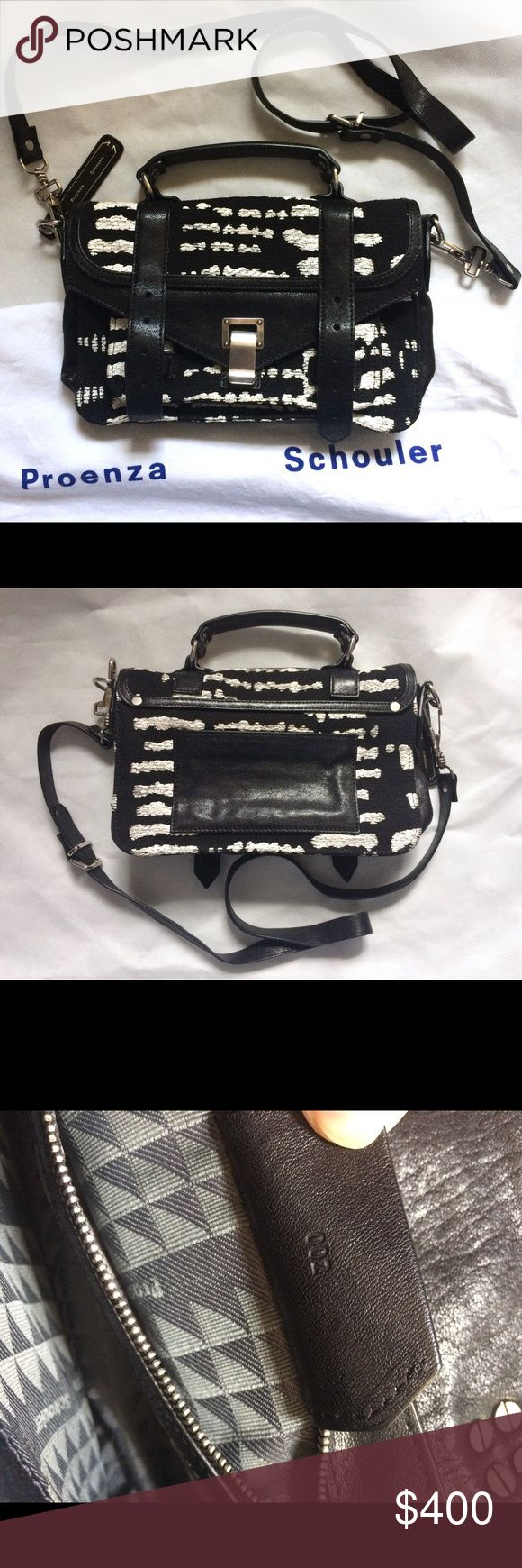 Proenza Schouler ps1 tiny black and white handbag preowned proenza schouler ps1 tiny in woodblock jaquard, black and white lambskin leather, silver tone hardware, in great condition, some dark spots on the white parts of the bag, some hairline scratches on the hardware, come with dust bag, shoulder strap is detachable. Price firm. Proenza Schouler Bags Satchels