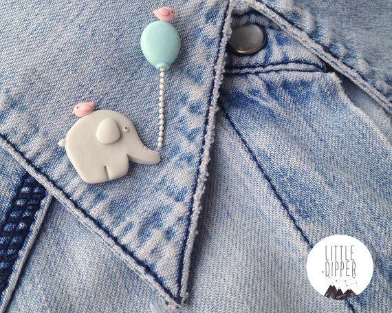 Elephant and Balloon collar brooch - handmade polymer clay jewelry