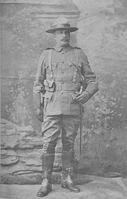"Lieutenant-Colonel Sam Steele, Commanding Officer of Strathcona's Horse in South Africa, April 1900 — January 1901, and of ""B"" Division, South African Constabulary, April 1901 — April 1906. Here he wears the uniform of Strathcona's Horse."