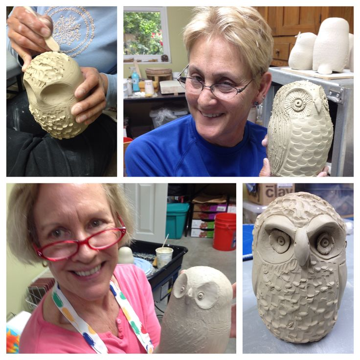 Potters and Friends:  making owls; 3 of 3