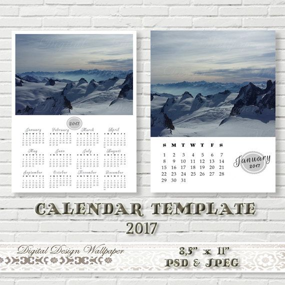 2017 Calendar Template85x11 size12 Month by DigitalDesignPaper