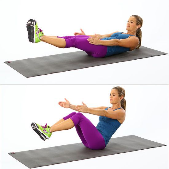 5-Minute Ab Workout: V-Sits. Lie on back and reach  arms rigid at your side. Lift legs off floor and point so they are a 45-degree angle. Lift upper torso off floor and bend knees. Lower back down to the floor so  legs are straight and back is on floor.  Repeat for one minute. #SelfMagazine