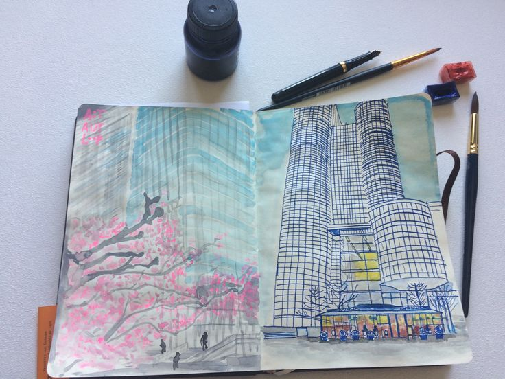 Daily sketch. Inspiration of  La Defense Paris in spring. #illustration, #drawing, #watercolor, #ink, #blossom, #spring, #cherry, #print, #urban, #city