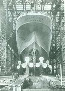 Cunard Line's magnificent Mauretania--a champion about to be born.