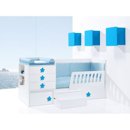 Cunas convertibles en color azul para bebé ¡Ideal para un dormitorio lleno de vida y color!