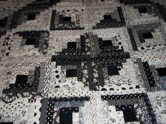 quilt in black and white log cabin star by compulsivequilter