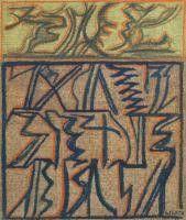RICCARDO LICATA (Torino 1929 - Venezia 2014) Composizione olio su tela, cm 46x38 firmato e datato eseguito nel 1971
