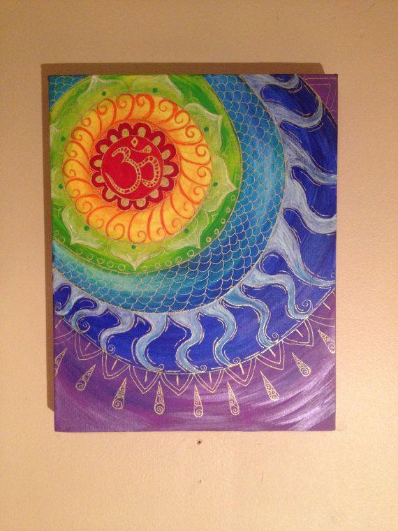 Ohm mandala painting meditating chakra colours yoga on Etsy, £20.53