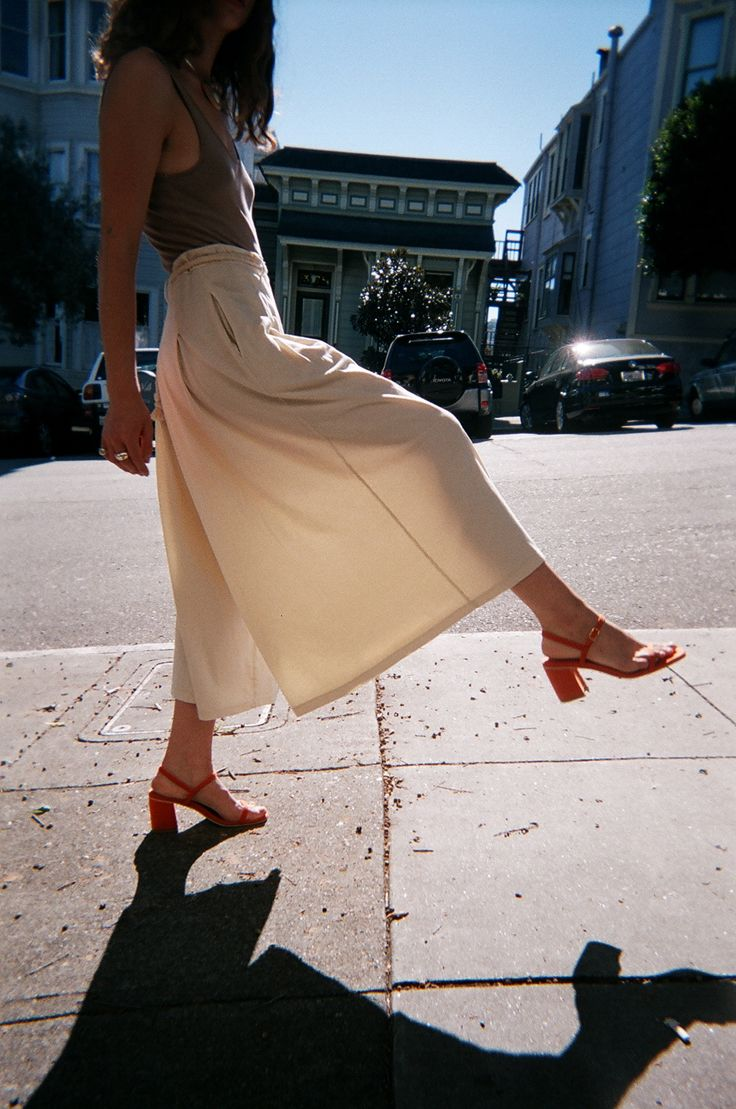 The closet chameleon, these pants double as a midi skirt silhouette at some angles. Smooth, luxe cotton ...