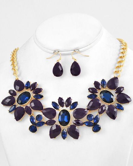 Gold Tone / Purple & Montana / Acrylic & Glass / Lead&nickel Compliant / Flower / Necklace & Fish Hook Earring Set