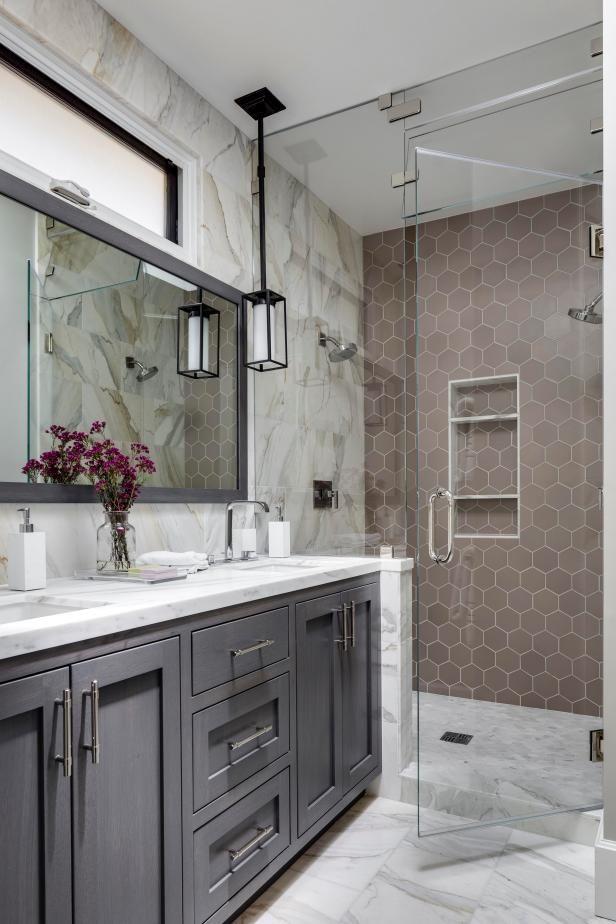 Marvelous Marble | HGTV >> http://www.hgtv.com/design-blog/design/9-bold-bathroom-tile-designs?soc=pinterest