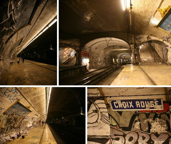 Three subway stations in Paris– Arsenal, Champ de Mars and Croix-Rouge--that have been closed since 1939.