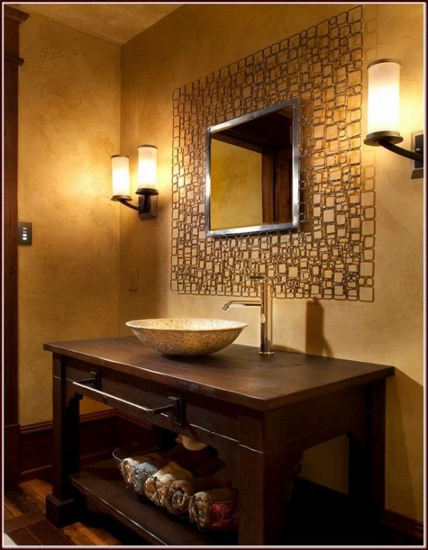 Aluminum-frame-mirror-inspiring-rustic-vessel-sink-vanity-for-bathroom