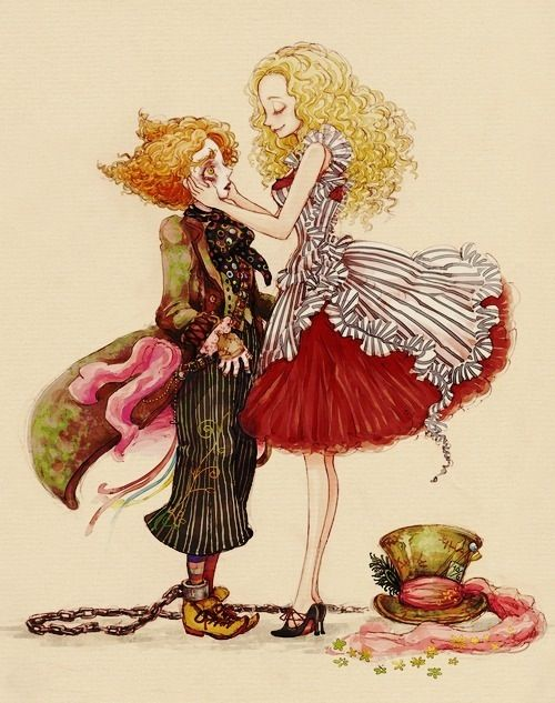 alice & mad hatter drawing