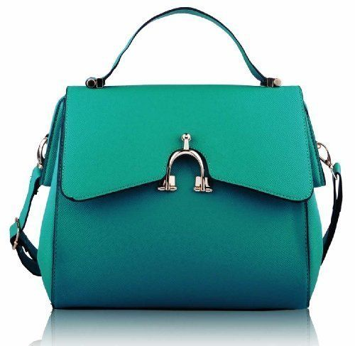 Ladies Vintage Green Emerald Top Handle Bag Womens Faux Leather Long Strap Handbag by KCMode on Amazon £21.99