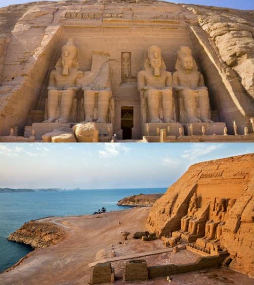 Templos de Abu Simbel/ Egipto. Se trata de dos santuarios excavados en la roca, mandados a hacer  por el faraón Ramsés II durante su reinado (1279-1213 a.C) para conmemorar su victoria en la batalla de Qadesh (ca. 1274 a.C.).  El templo de Ramsés II es el más grande que este faraón ordenó construir en Nubia mientras que el templo menor está dedicado a Nefertari, su primera esposa. Se encuentran situados en el margen izquierdo del Nilo al sur del actual Egipto, cerca de la frontera con Sudán.