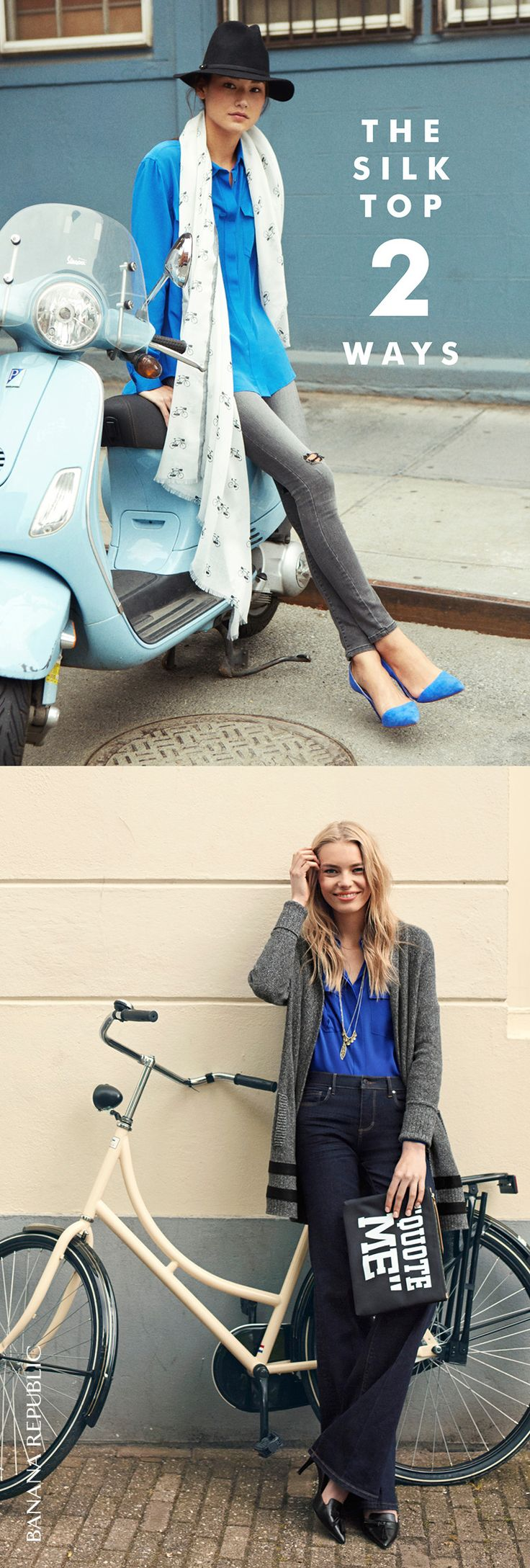 A soft and silky wardrobe staple looks better in an amazing shade of cobalt blue. As happy with distressed skinny jeans or tucked into denim flares. It really is all about this color.