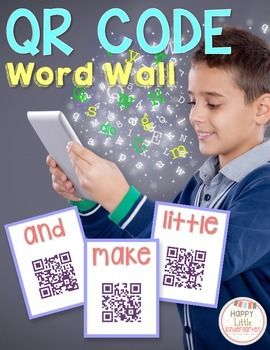 QR Code Word Wall: 43 Sight Words with QR Codes  ***************************************** Implement technology into your writing center with this engaging and interactive word wall. Students simply scan the QR code with their iPod, iPad, tablet, etc. and the link takes them to a personalized YouTube video. The video spells and reads the sight word to the student. Dolch Pre-Primer Kindergarten Word Wall