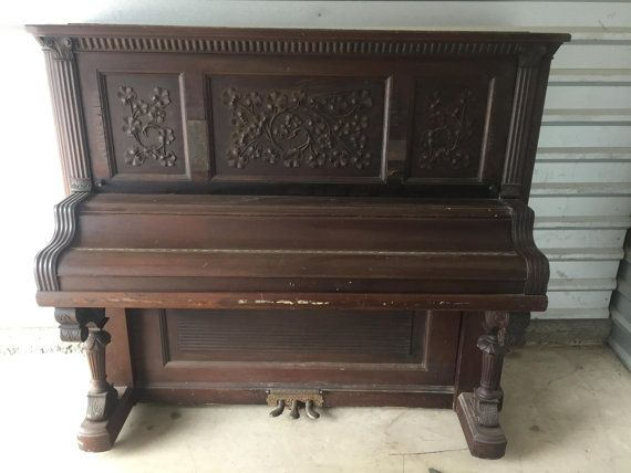 """Beautiful Antique 1895 Kimball Piano for sale on Etsy. So many Awesome Repurpose Ideas on here from """"Piano"""" Bars, Benches, Garden Water Features, Desks, Headboard, Book/Armoire, etc..."""